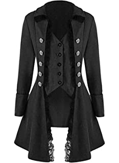 beaae479033 Women's Gothic Steampunk Corset Halloween Costume Coat Victorian Tailcoat  Jacket