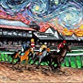 Horse Racing art print van gogh Never Saw Saratoga artwork by Aja choose size and type of paper