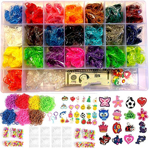 Loomy Bands 6600-Piece Rainbow Colored Loom Band, 22 Colors, 50 Beads, 15 Charms, 250 Clips, Pick Hook and Plastic Storage Container