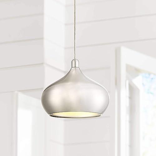 Holland Satin Nickel Mini Pendant Light 7 1 2 Wide Modern LED Fixture for Kitchen Island Dining Room – Possini Euro Design