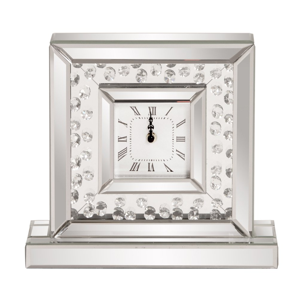 Howard Elliott Mirrored Glass Crystal Accented Clock