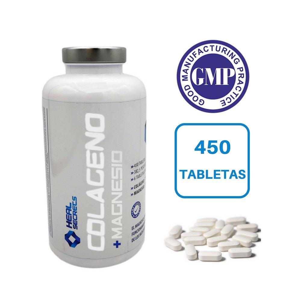 Colageno con Magnesio 450 tabletas x 725 mg. Colageno Hidrolizado + 31.5 mg Magnesio Suplemento ideal para las Articulaciones y Huesos Calidad Premium Heal ...