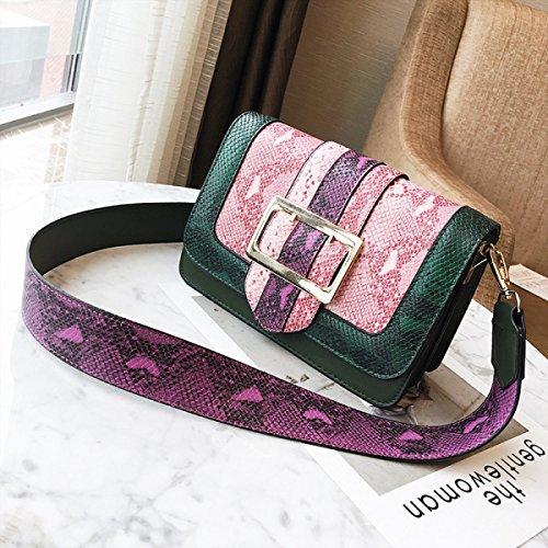 Bolso Pequeño Cuadrado Femenino Versión Coreana Simple Salvaje Serpentina Bolso Pequeño Hombro Bolso Del Mensajero Green