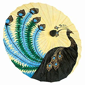 Vintage Style Parasols and Umbrellas Hand Painted Paper Sun Parasol 34 (Peacock) $36.00 AT vintagedancer.com