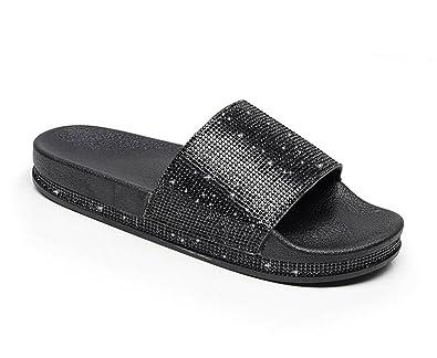 68300ea98 Huateng Rhinestone Women Slippers Summer Women Crystal Diamond Bling Beach  Slides Sandals Casual Shoes Slip On Slipper  Amazon.co.uk  Shoes   Bags