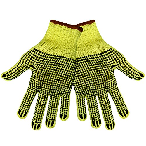 Global Glove K200D2 100 Percent Kevlar Standard Weight String Knits Glove, 2 Sided Dots, Cut Resistant, Mens (Case of 120) 100% Kevlar String