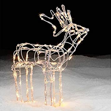 trim a home christmas decoration 24 inch lighted white wire standing deer
