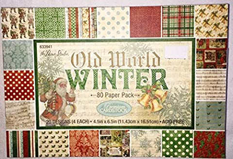 Old World Winter Christmas Scrapbooking Paper Pack 4.5x6.5, 80 sheets - Christmas Design Pack