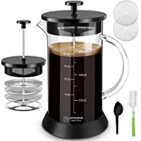 Upgraded French Press Coffee Maker Glass 12oz, French Coffee Press with Glass handle and non-slip silicone base Precise…