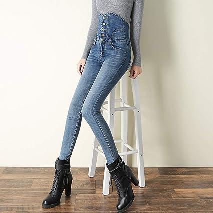 Qmglbg Talla 28 Vaqueros Ajustados De Mezclilla Para Mujer De Talla Grande Elasticos De Cintura Alta Leggings Elasticos Pantalones Lapiz Ropa De Moda Push Up Femenino Amazon Es Hogar