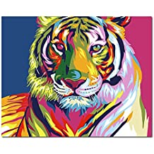 Mesno Diy Oil Painting ,Paint by Number Kit for Adults Kids-Colorful Tiger Pattern 16x20 inch [Framless]