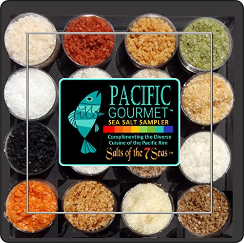 Finishing Sea Salt Collection - Pacific Gourmet Sea Salt Sampler with 16 Gourmet Sea Salts Complimenting the Cuisine of the Pacific Rim. Presented in a clear plastic case with full description of each salt.