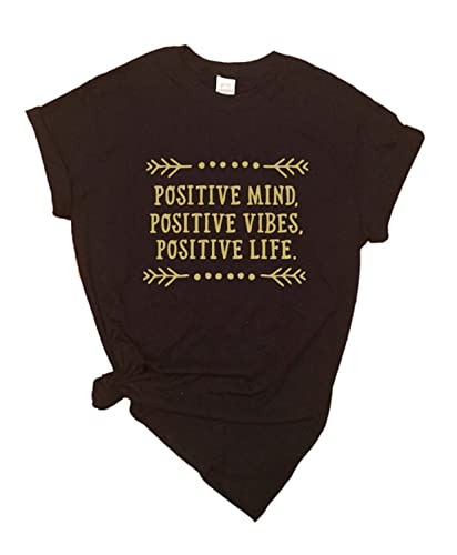 c74c3469 Amazon.com: Positive Mind, Vibes, Life T-Shirt - Graphic Tees - Good ...