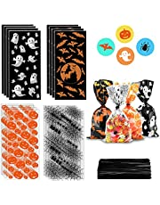 ERKOON 200 pcs Halloween Treat Bags Halloween Cellophane Candy Bags Spider Web Bat Ghost Pumpkin Gift Bags with 250 Twist Ties Kids Party Candy Bags for Halloween Party Supplies