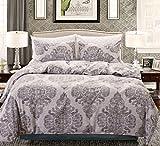 HOLY HOME Duvet Cover Set 3 Piece-Microfiber Bedclothes Full/Queen Size 90''x90'' BOHO Vintage Damascus Gray Green