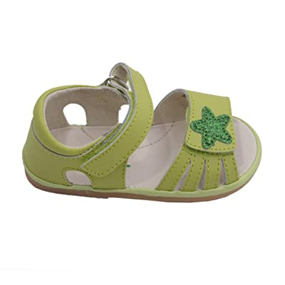 Angel Baby Girls Lime Sparkly Star Velcro Strap Sandals 1 -3 Baby