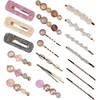 CCINEE Acrylic Resin Hair Clips Barrettes Set, Pearl Barrettes,Metal Barrettes for Women Ladies -20Pieces