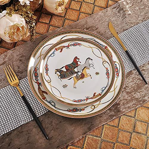 Luxury War Horse Bone China Dinnerware Set Royal Feast Jingdezhen Porcelain Western Plate Dish Home Decoration Wedding -