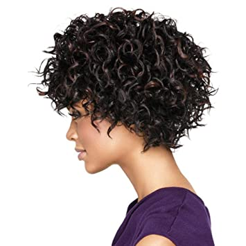 OOARGE Pelucas Mujer Peluca Curly Kinky Curly Cabello Real Pelucas Afro Curly Natural , black