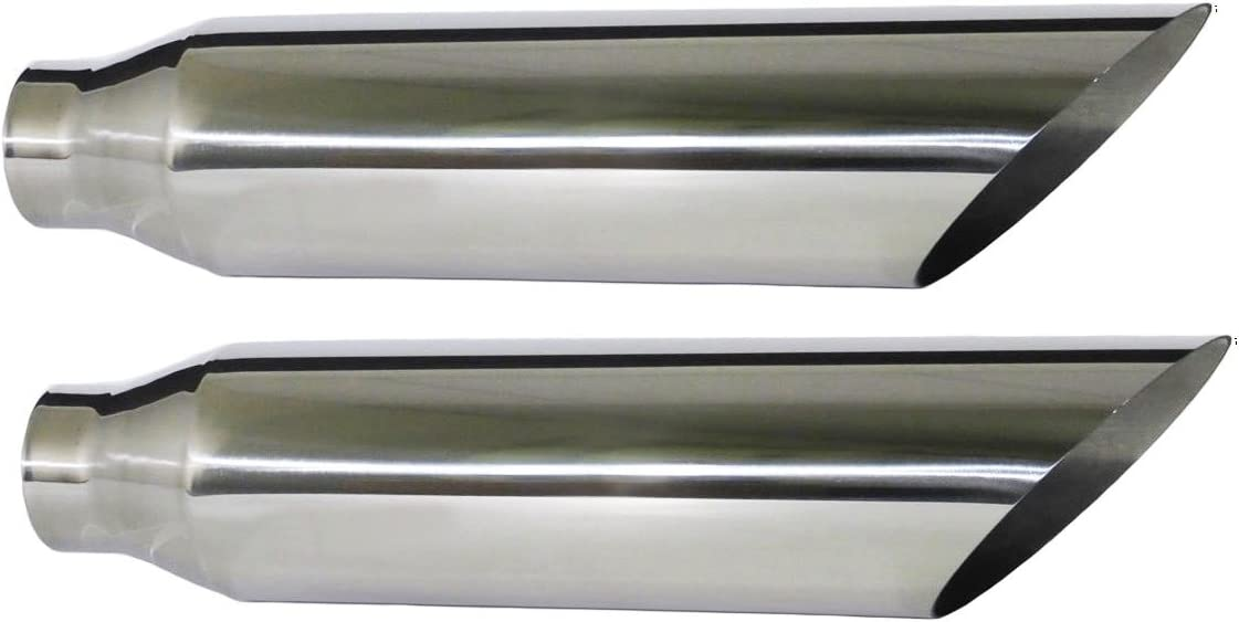 """PAIR OF TWO STAINLESS STEEL UNIVERSAL EXHAUST TIPS 4"""""""