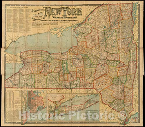 (Vintage Map | ca. 1903 Scarborough's new railroad, post office, township and county map of New York with distances between stations | Vintage Wall Art | 24in x 20in)