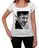 Sean Penn B, tee shirt femme, imprimé célébrité,Blanc, t shirt femme,cadeau