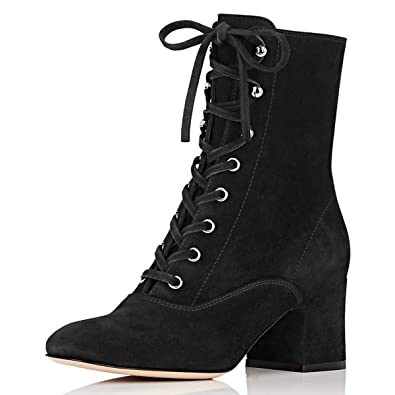 10cf9b491cb YDN Women Casual Lace-up Ankle Boots Poinetd Toe Low Block Heel Shoes Side  Zipper Trip Office