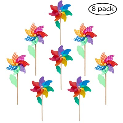 """Wooden Stick Pinwheels(Flower Ø 9.5"""") 7-Color Rainbow/Rainbow Dot Wind Spinners -Pack of 8, Wood Stick/Wand, Wind Spinners Windmill, Party Garden Yard Home decoration Party Favors -20.5x9.5x3.9"""": Garden & Outdoor"""