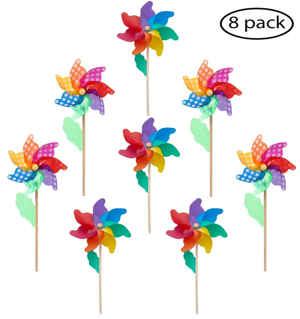 "7-Color Rainbow/Rainbow Dot Wind Pinwheels (Ø 9.5"")-Pack of 8, Wood Stick/Wand, Wind Spinners Windmill, Birds Repellent Suitable for Party Garden Yard Home decoration Party Favors -20.5x9.5x3.9"""