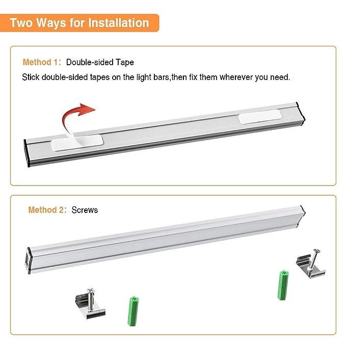 Solmore - Luces LED para debajo del mostrador de armario de cocina, regulables al tacto, barra de luz USB para dormitorio, pasillo, estudio, estante, ...