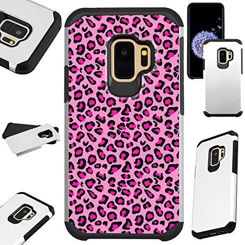 For Samsung Galaxy S9 / Samsung Galaxy S 9 Case Hybrid TPU Fusion Phone Cover (Pink Leopard Skin)