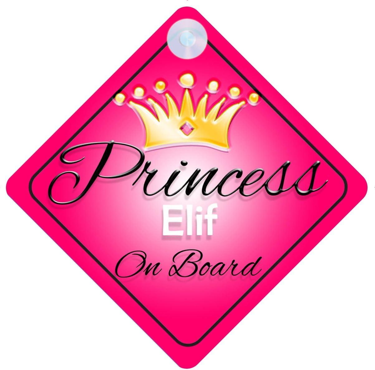 Princesse ELIF on Board Personnalis/é Fille Voiture Panneau pour b/éb/é//enfant cadeau 001