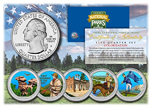 2016 America The Beautiful COLORIZED Quarters U.S. Parks 5-Coin Set (America Coin)