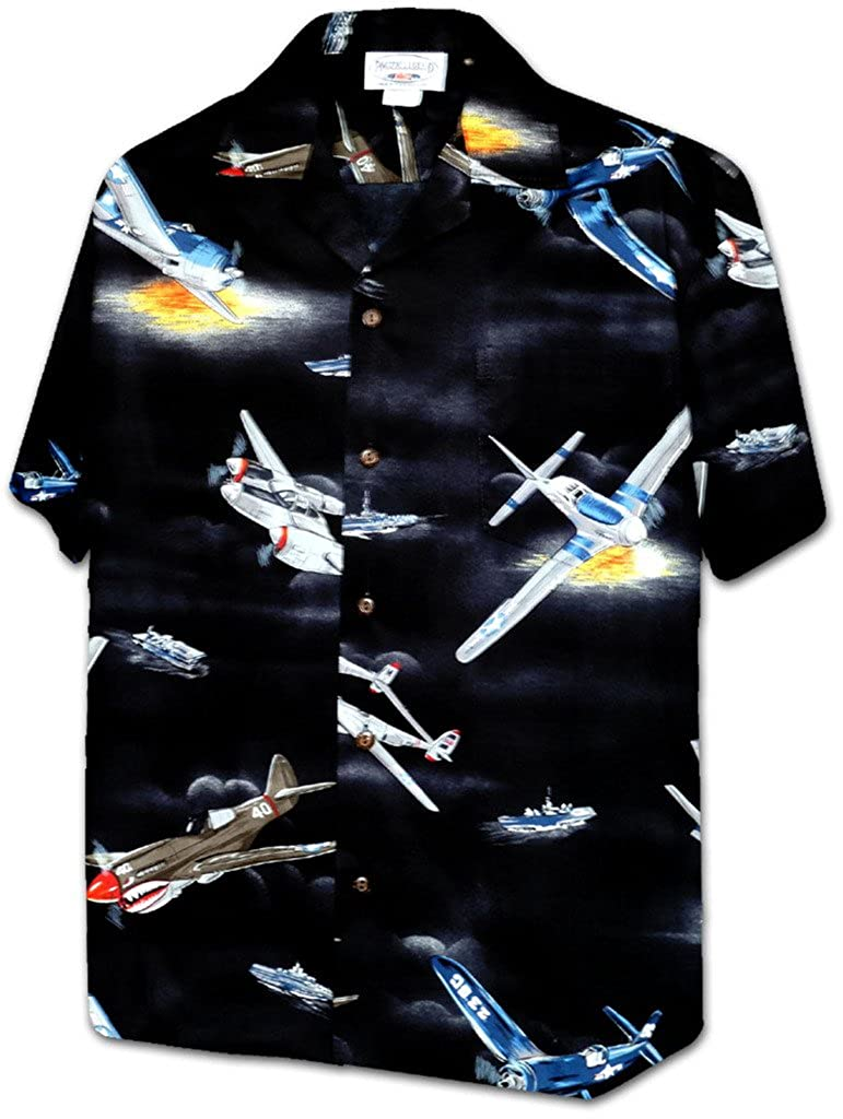 Pacific Legend Apparel Hawaiian Aloha Shirt World War 2 Fighter Planes Black