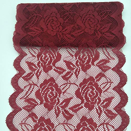 10Yards Lace Fabric 14CM/5.5 inches Wide Trim Lace Ribbon (Wine red)