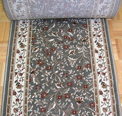 """Rug Depot 141671 Radici Como 1593SG Sage Traditional Hall and Stair Runner - 26"""" Wide Hallway Rug Runner - Custom Sizing - Sage Green Background - Choose Your Length - 26"""" x 10 feet"""