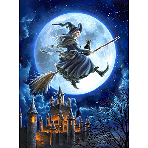 Adarl 5D DIY Diamond Painting Rhinestone Pictures of Crystals Embroidery Kits Arts, Crafts & Sewing Cross Stitch (Witch with Castle) by Adarl