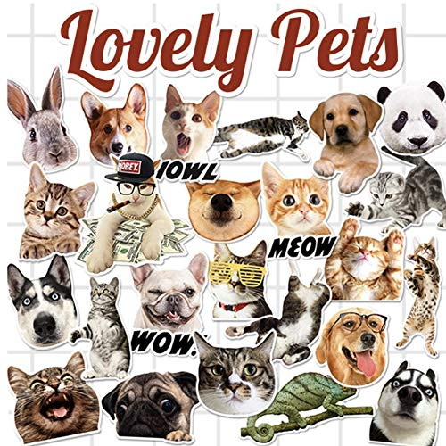 (CheeseandU 24-Pcs PVC Decals Mixed Animals Vinyl Computer Stickers Cute Dogs Cats Rabbit Lizard Panda Decals Waterproof Anti-Sunlight DIY Ideals for Cars, Motorbikes, Portable,Luggages,)