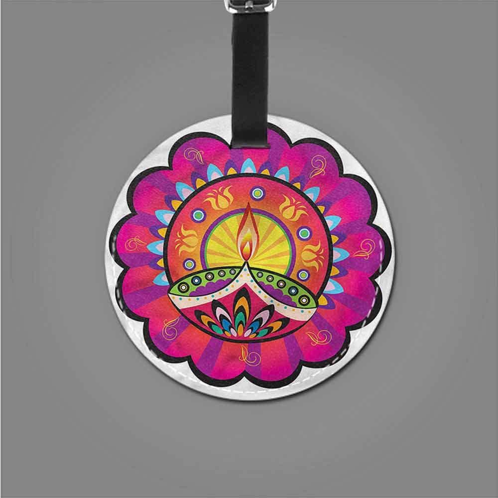 Suitcase Cartoon Luggage Tags Diwali,Modern Paisley Diwali Portable Label