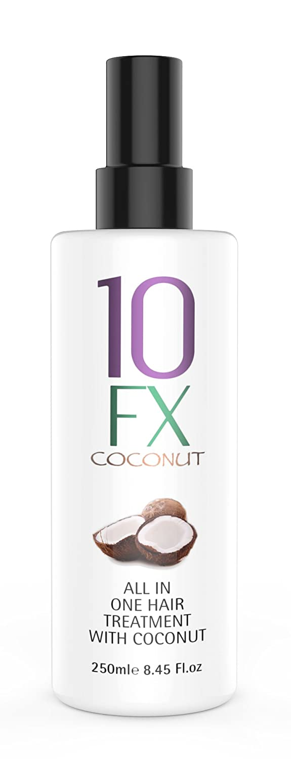 10 FX All In One Hair Styling Treatment with Coconut Scent – Frizz Control, Heat and UV Colour Protection, Suitable For All Hair Types – 250 ml Second Glance Beauty BEN00001