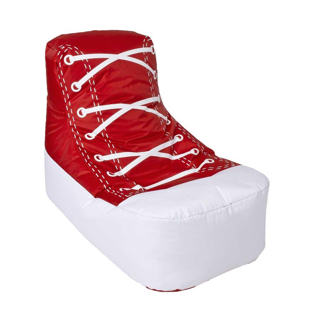 Pharao24 Sitzsack im Sneaker Design Rot Weiß