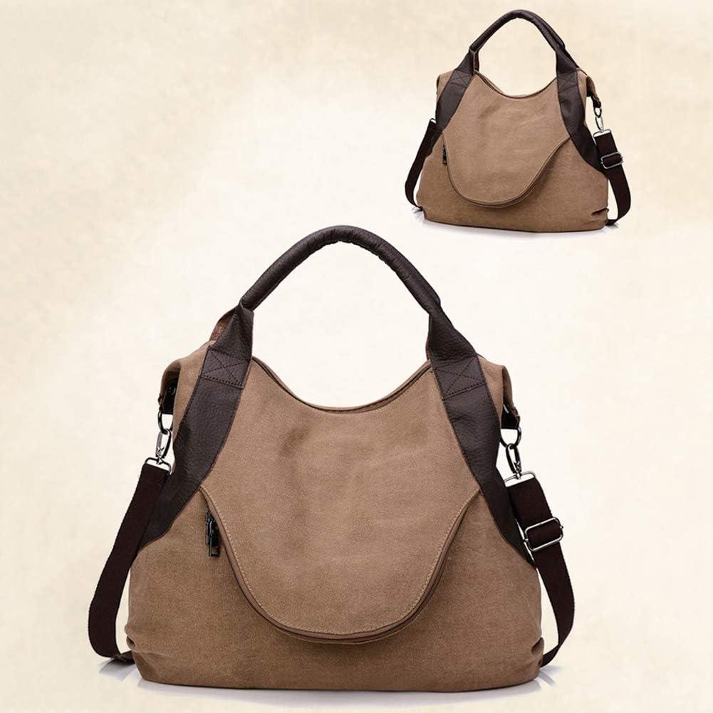 Connoworld Handbag Vintage Canvas Large Capacity Womens Tote Shoulder Bag Handbag Zipper Pouch Coffee