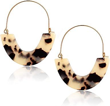 boho statement design Light grey acetate earrings creoles circle earrings tortoised tortoise shell turtle hanger geometric