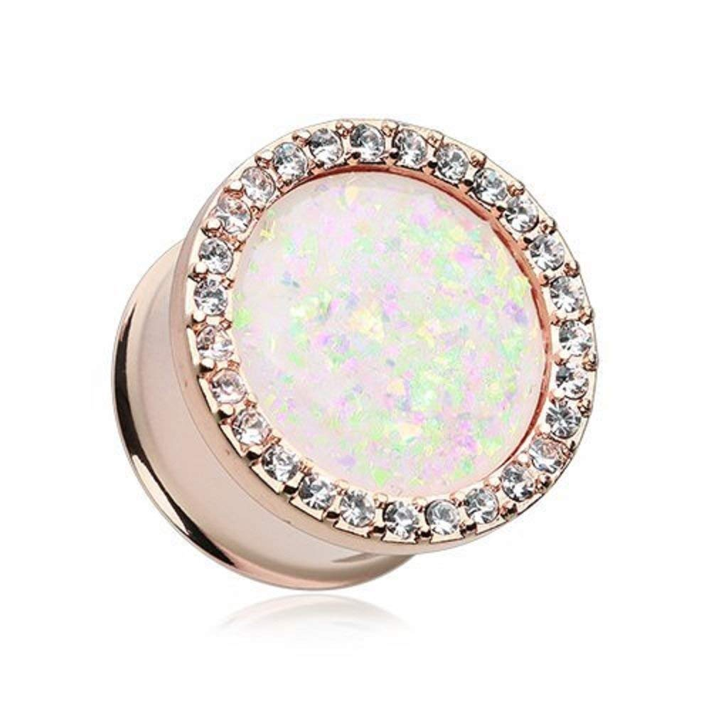 Covet Jewelry Rose Gold Opal Elegance Multi-Gem Ear Gauge Plug (7/8'' (22mm)) by Covet Jewelry