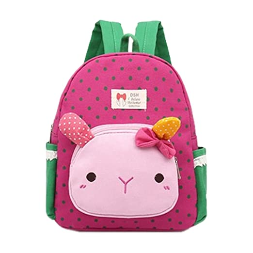 Cute Animal 3D Bunny Polka Dot Canvas Kids Backpack Waterproof Adjustable Children  School Book Bag Toddler b793b3d2a5072