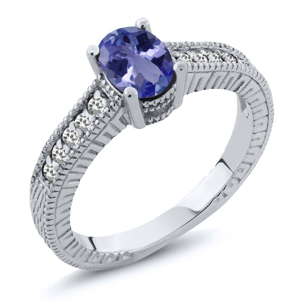 1.04 Ct Oval Blue Tanzanite AAA White Sapphire 925 Sterling Silver Engagement Ring