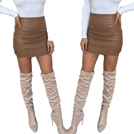 af9becae7 Vestido largo Amlaiworld Mujeres vendaje de cuero lápiz bodycon cadera mini  falda (S, Marrón)