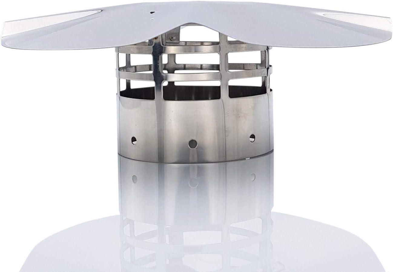 Tygerix - Terminal vertical para sombrero chino de acero inoxidable, antiincendios, diámetro de 80 mm, salida de humos, calderas y estufas + grosor + resistencia, superior