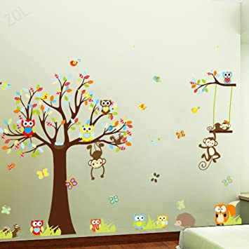 Forest Woodland Animals Owl Birds Hanging Monkey Squirrel Fox Hedgehog  Colorful Tree Art Wall Stickers Decal Part 59