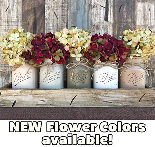 (Mason Canning JARS in Wood or Metal Tray Centerpiece with 5 Ball Pint Jar -Kitchen Table Decor -Distressed -Flowers (Optional)- SAND, THISTLE, PEWTER, CREAM, COFFEE Painted Jars (Pictured))